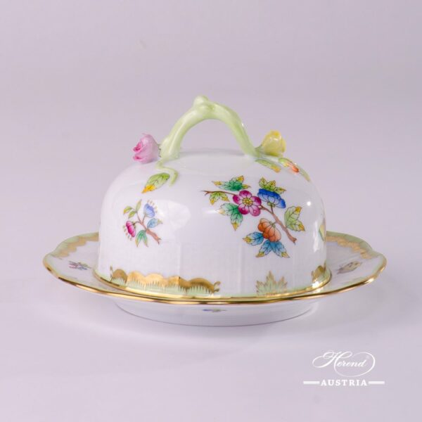 Butter Dish with Branch Knob 393-0-02 VBO Queen Victoria design. Herend fine chinahand painted
