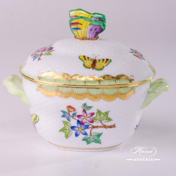 Sugar Basin with Butterfly Knob 6012-0-09 VBA Queen Victoria design. Herend fine china hand painted