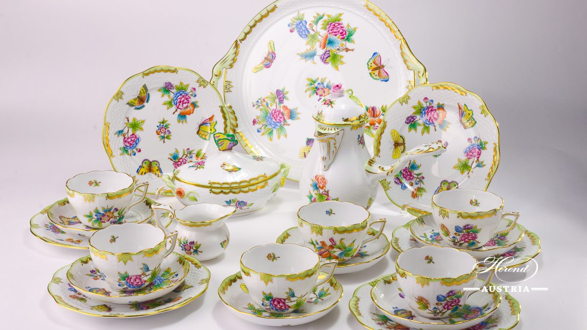 Coffee / Cappuccino Set for 6 Persons - Herend Queen Victoria VBO decor. Herend porcelain hand painted. Tableware