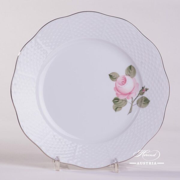 Dessert Plate 517-0-00 VGRS-PT Vienna Rose Grand w. Platinum pattern. Herend fine china. Hand painted tableware