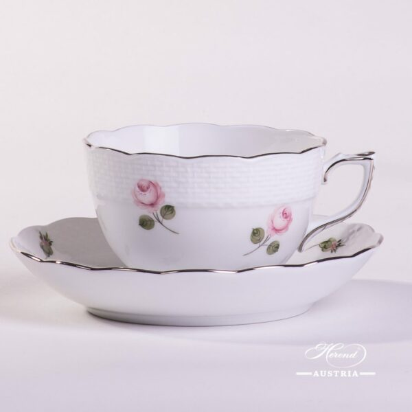Vienna Rose Platinum 701-0-00 VR-PT Tea Cup and Saucer Herend porcelain