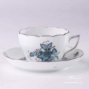 Chinese Bouquet Turquoise / Apponyi ATQ3-PT - Tea / Coffee Cup