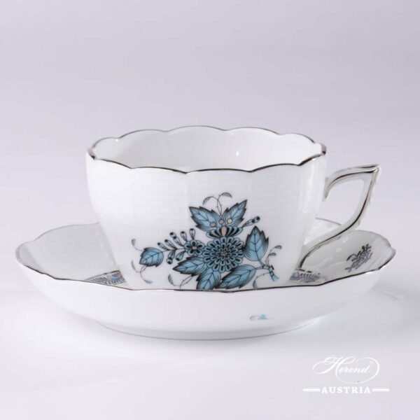 Tea / Coffee Cup and Saucer 730-0-00 ATQ3-PT Chinese Bouquet Turquoise / Apponyi ATQ3-PT pattern. Universal Cup. Turquoise w. Platinum design. Herend fine china. Hand painted tableware