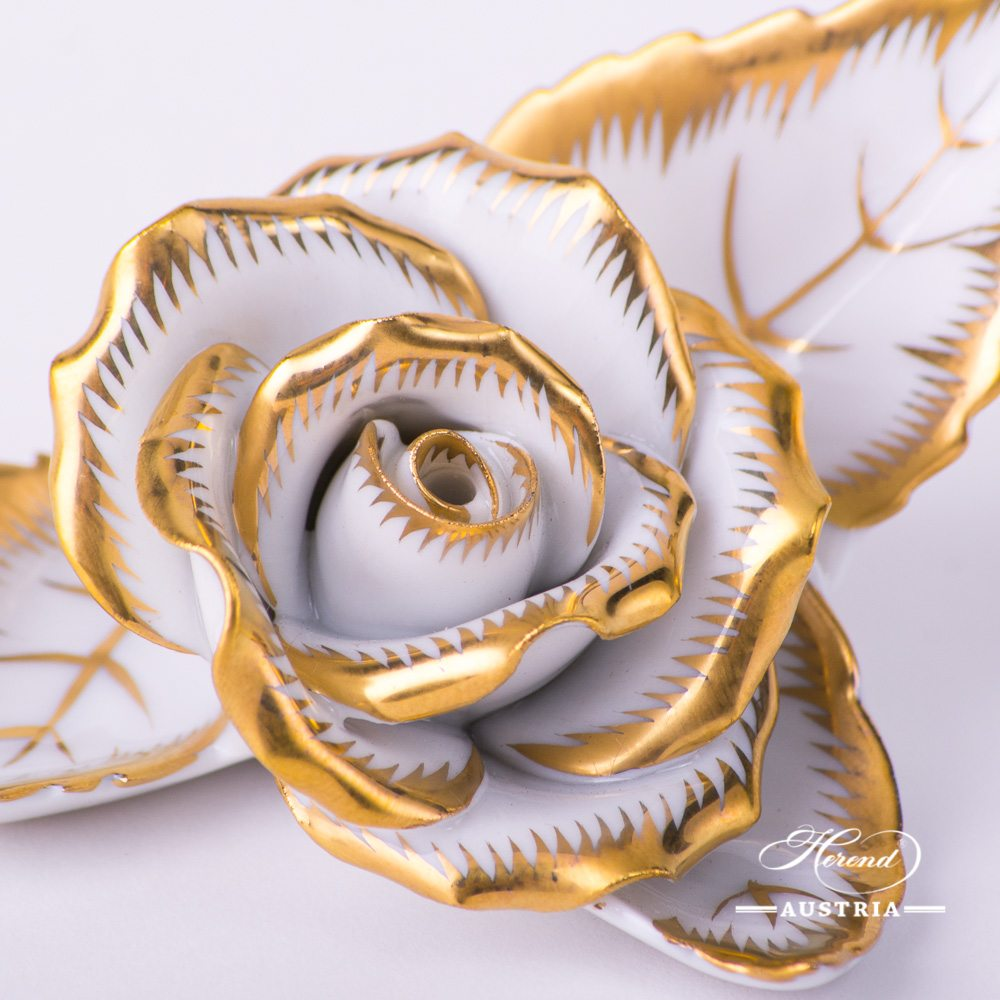 Gold - Rose on Leaf - 2 pc