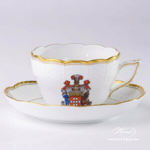 Hadik Decor with Coat of Arms - Tea Cup and Saucer - 730-0-00-HD-CIM - Herend Porcelain