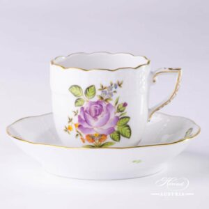 Small Bunch of Roses Coffee Cup and Saucer - Herend Porcelain Mocha