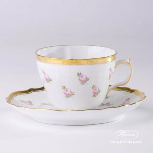 Small Roses Tea Cup and Saucer - 1730-0-00 PTRA - Herend Porcelain