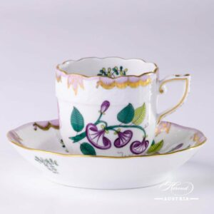 Windsor Flowers Coffee Cup and Saucer - 709-0-00 WBO - Herend Porcelain