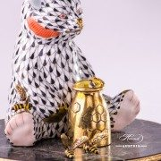Jewelled Bear herend porcelain animal figurine with honeymug