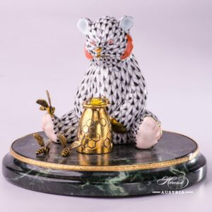 Jewelled Bear herend porcelain animal figurine with honeymug - expensive gift with gold