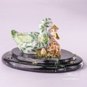 Jewelled Herend Porcelain green yellow pair of ducks - side