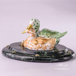 Jewelled Herend Porcelain green yellow pair of ducks