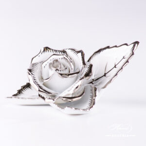 Platinum - Rose on Leaf - 2 pc