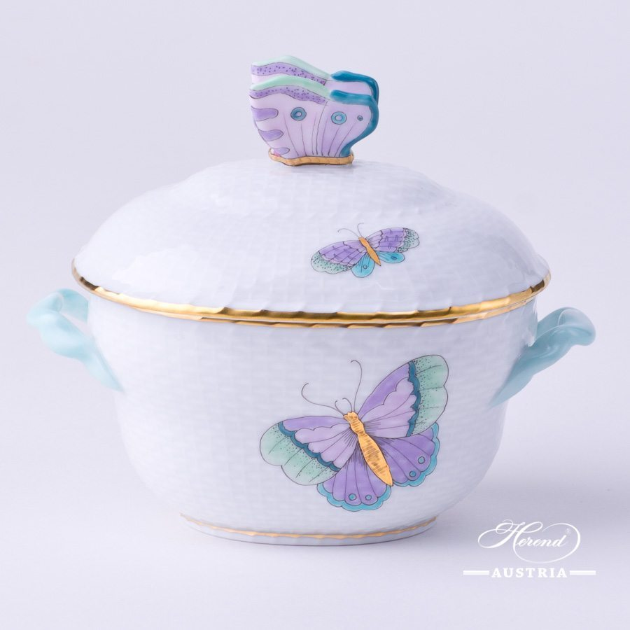 Sugar Basin w. Butterfly Knob 6012-0-17 EVICTP2 Royal Garden Turquoise Butterfly pattern. Herend fine china hand painted. Tableware