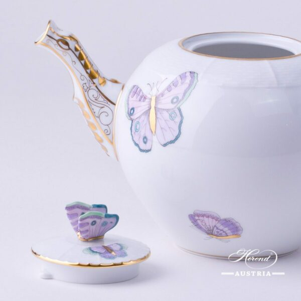 Tea Pot w. Butterfly Knob 604-0-17 EVICTP2 Royal Garden Turquoise Butterfly pattern. Herend fine chinahand painted. Tableware