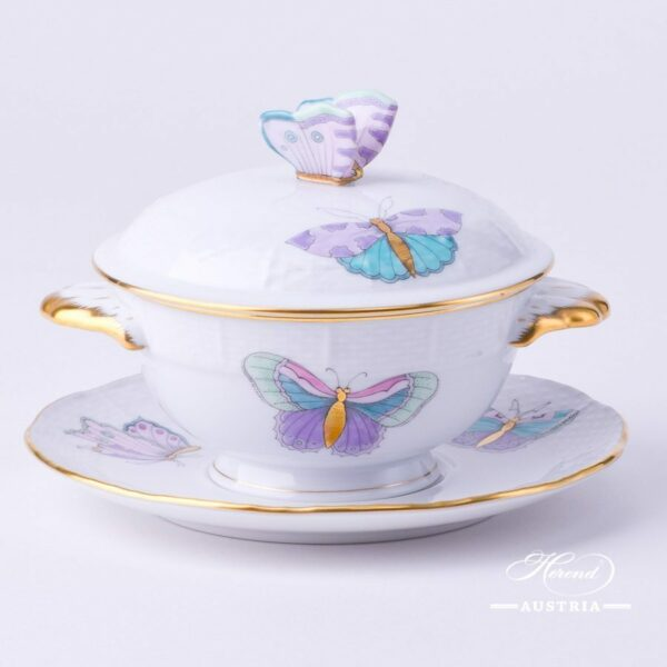 Soup Cup with Lid 740-0-17 EVICTP2 Royal Garden Turquoise Butterfly pattern. Herend fine chinahand painted. Tableware