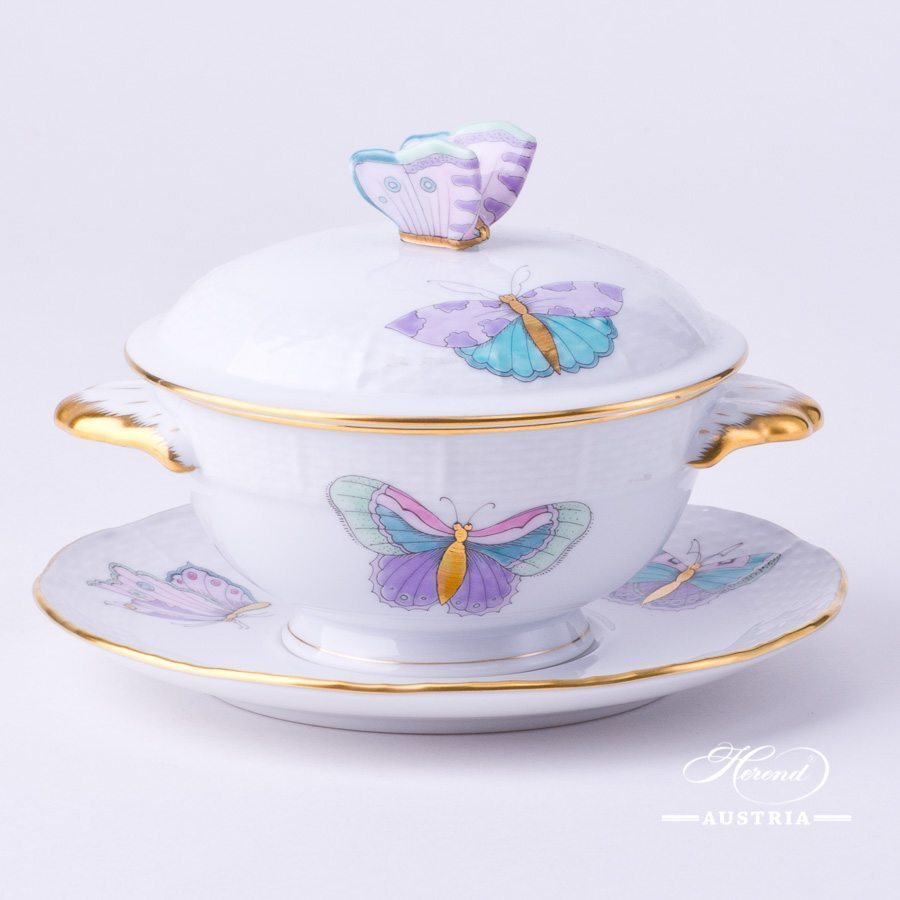 Soup Cup with Lid 740-0-17 EVICTP2 Royal Garden Turquoise Butterfly pattern. Herend fine china hand painted. Tableware
