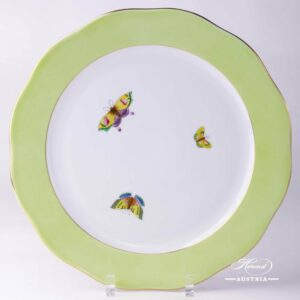 Light Green Edge - Serving Plate w. Butterflies