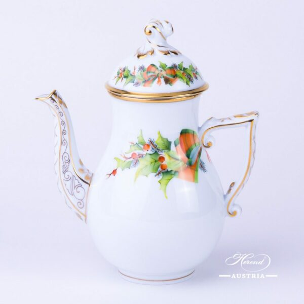 Herend porcelain Coffee Pot painted with Christmas motif