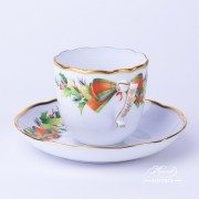 Herend porcelain Coffee Cup and Saucer painted with Christmas motif