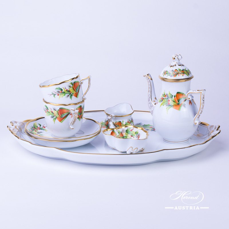 Christmas-NOEL  Coffee-Set for 2 Persons - Herend Porcelain