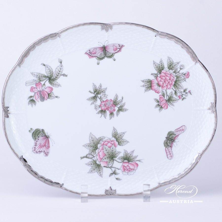 Cake Plate / Tray 417-0-00 VBOG-X1-PT Queen Victoria Platinum pattern. Herend fine china hand painted. Tableware