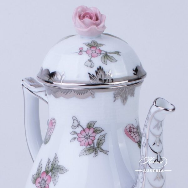 Coffee / Espresso Pot with Rose Knob 616-0-09 VBOG-X1-PT Queen Victoria Platinum pattern. Herend fine chinahand painted. Tableware
