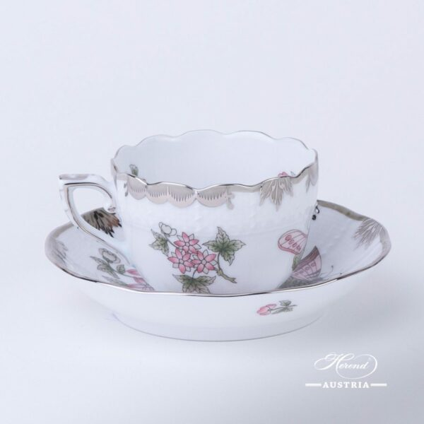 Coffee / Espresso Cup and Saucer 711-0-00 VBOG-X1-PT Queen Victoria Platinum pattern. Herend porcelainhand painted. Tableware