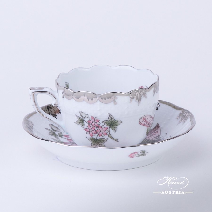 Coffee / Espresso Cup and Saucer 711-0-00 VBOG-X1-PT Queen Victoria Platinum pattern. Herend porcelain hand painted. Tableware