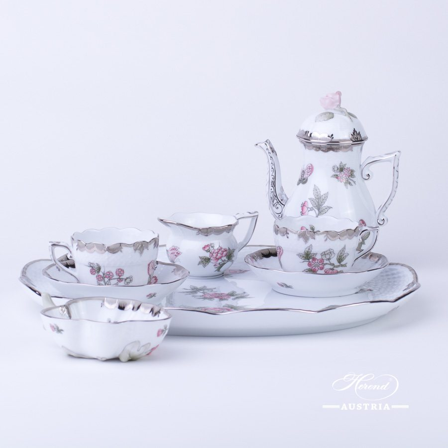 Coffee / Espresso Set for 2 Persons - Queen Victoria Platinum VBOG-X1-PT pattern. Herend fine china hand painted. Tableware