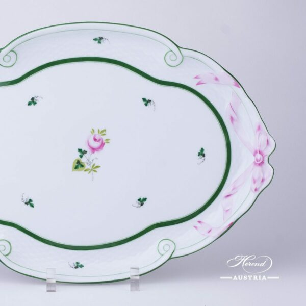 Tray with Ribbon 400-0-00 Vienna Rose / Viennese Rose VRH pattern. Herend fine china. Hand painted tableware