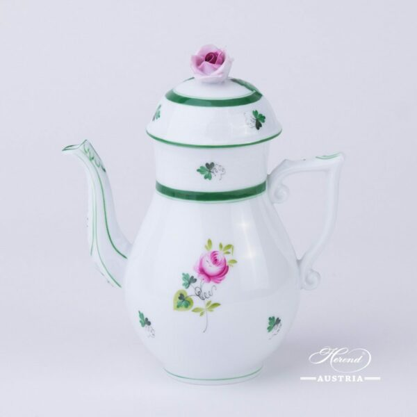Coffee / Espresso Pot w. Rose Knob 616-0-00 Vienna Rose / Viennese Rose VRH pattern. Herend fine china. Hand painted tableware