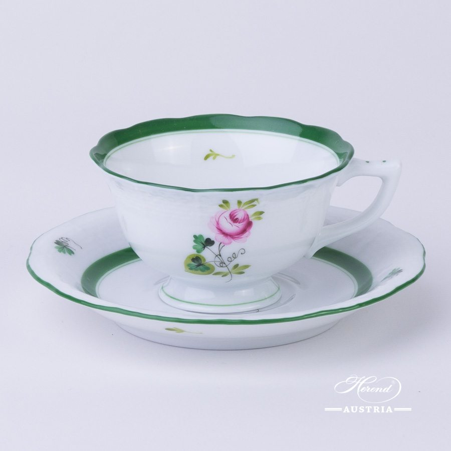 Coffee / Espresso Cup and Saucer 735-0-00 Vienna Rose / Viennese Rose VRH pattern. Herend fine china. Hand painted tableware. Demitasse