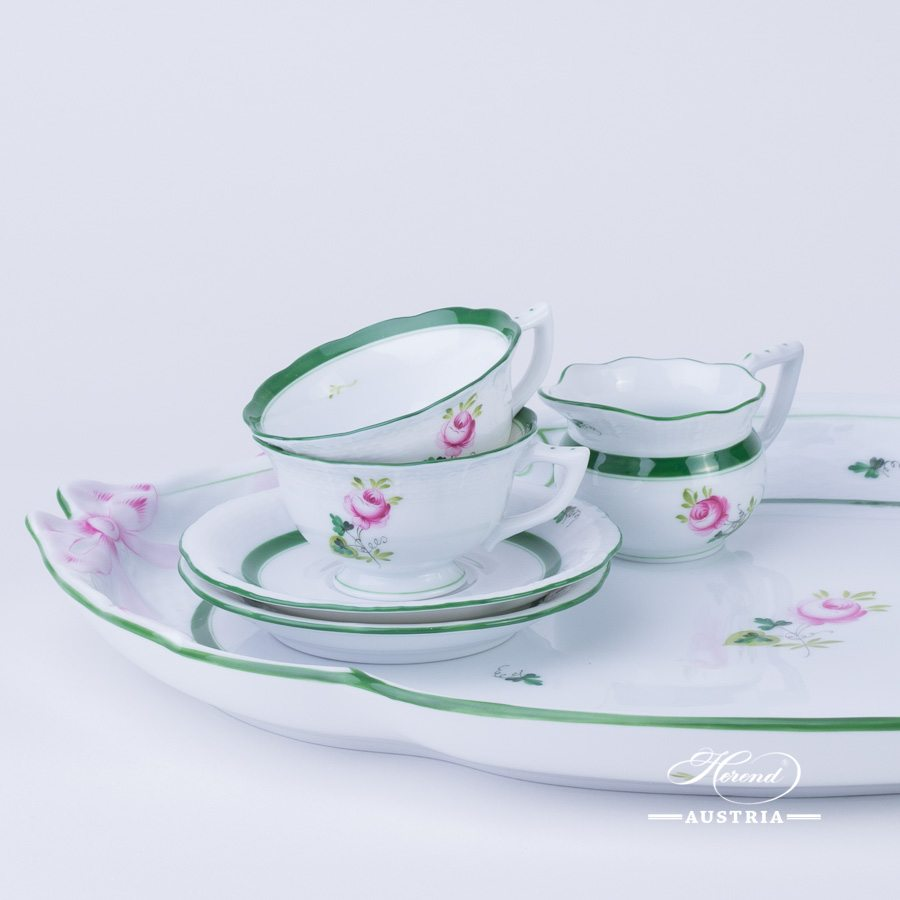 Coffee / Espresso Set for 2 Persons - Vienna Rose / Viennese Rose VRH pattern. Herend fine china hand painted. Tableware