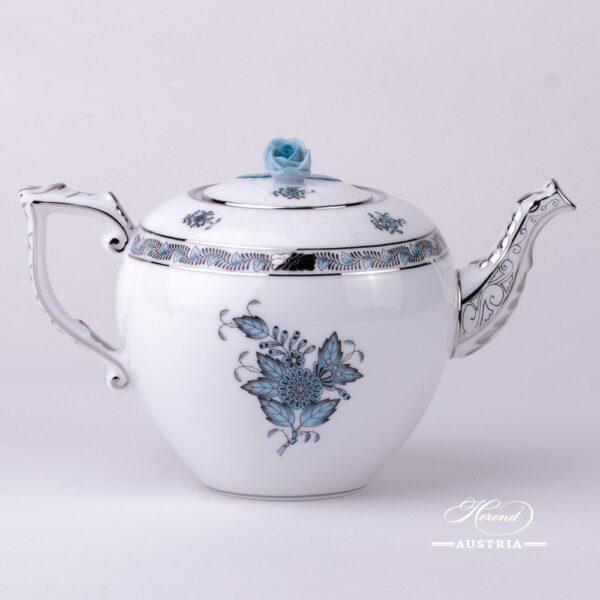 Tea Pot w. Rose Knob 606-0-09 ATQ3-PT Chinese Bouquet Turquoise / Apponyi ATQ3-PTpattern. Turquoisew. Platinum design. Herend fine china. Hand painted tableware