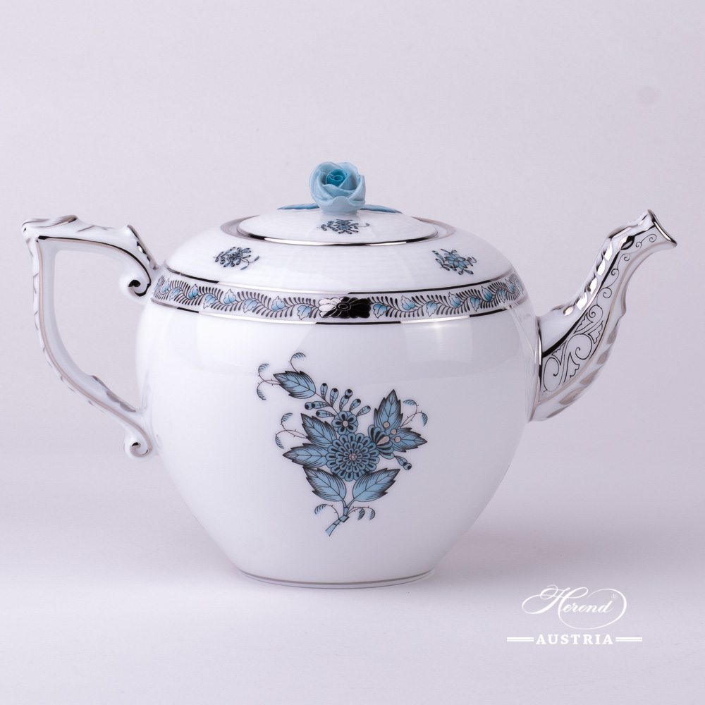 Tea Pot w. Rose Knob 606-0-09 ATQ3-PT Chinese Bouquet Turquoise / Apponyi ATQ3-PT pattern. Turquoise w. Platinum design. Herend fine china. Hand painted tableware