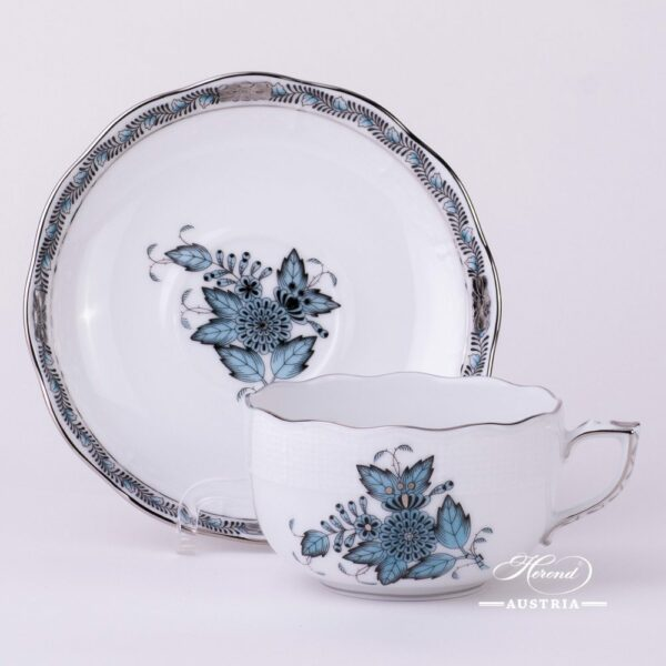 Tea Cup and Saucer 724-0-00 ATQ3-PT Chinese Bouquet Turquoise / Apponyi ATQ3-PT pattern. Turquoise w. Platinum design. Herend fine china. Hand painted tableware
