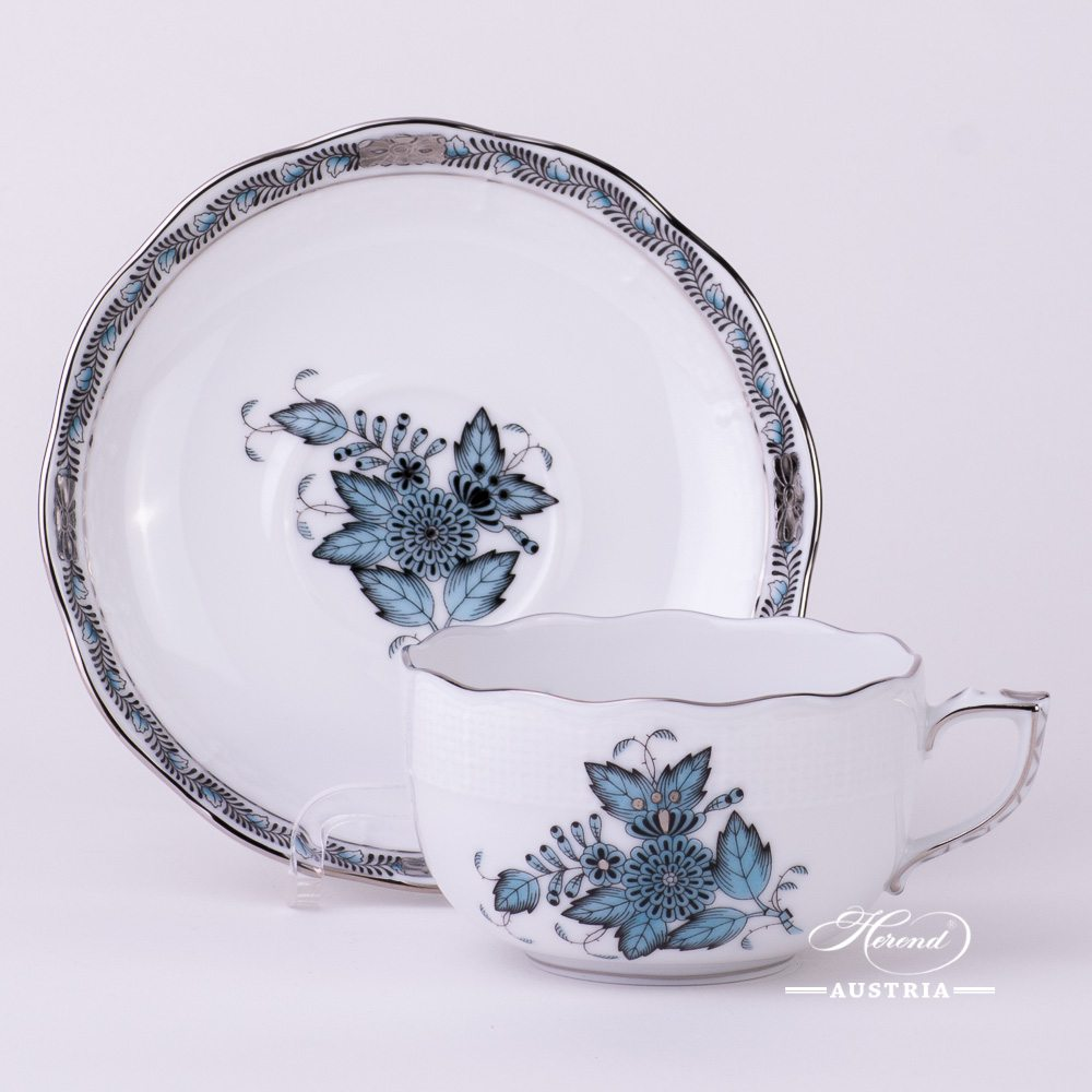 Apponyi-Turquoise Tea Cup and Saucer - 724-0-00 ATQ3-PT - Herend Porcelain