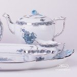 Tea Set for 2 Persons - Herend Chinese Bouquet Turquoise / Apponyi ATQ3-PTpattern. Herend fine chinahand painted. Tableware