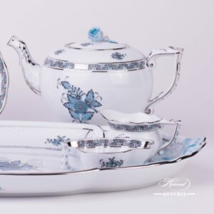 Apponyi Turquoise-ATQ3-PT Tea Set for 2 Persons - Herend Porcelain