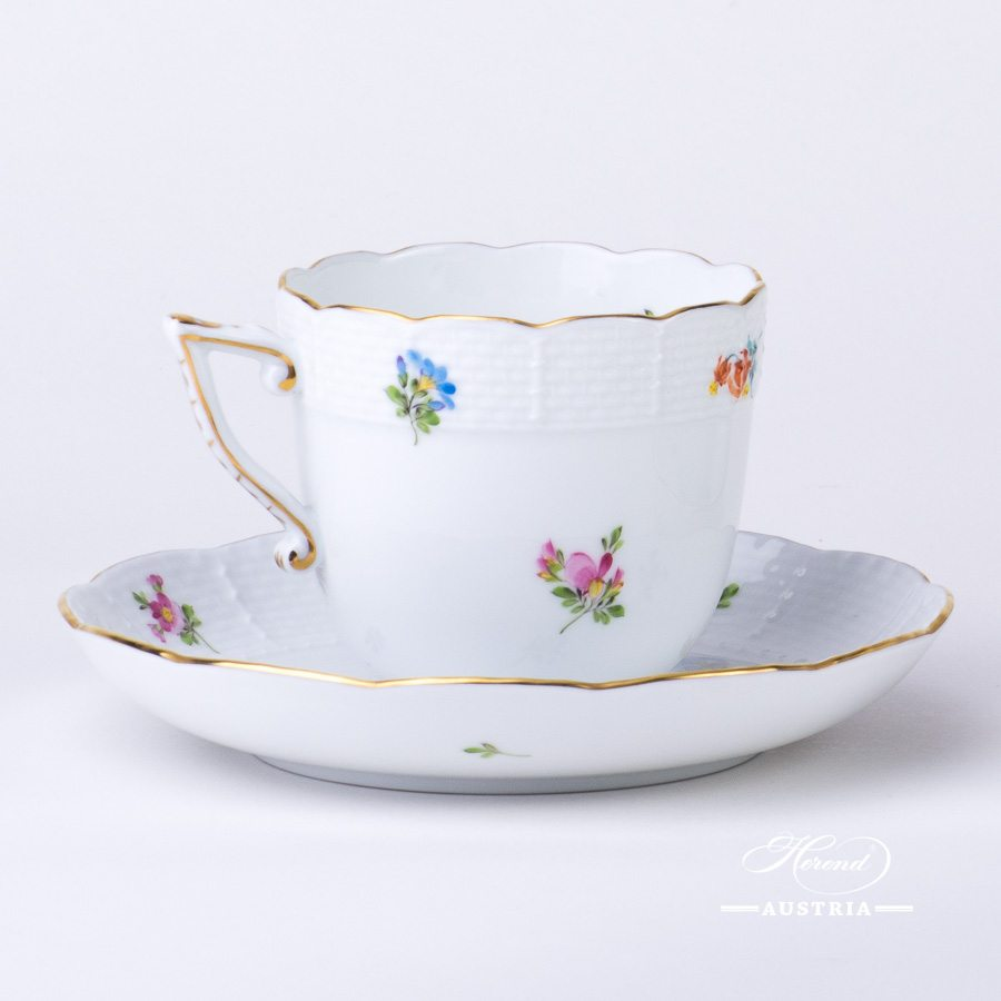 Thousand Flowers Coffee Cup and Saucer - 706-0-00 MF - Herend Porcelain