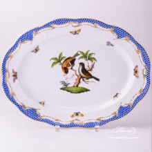 """Oval Dish 103-0-00 RO-ETB Rothschild Bird Blue Fish scale decor. Herend fine china. Hand painted tableware. Dimensions 34.5 x25.5 cm (13.5""""L x 10""""W)"""