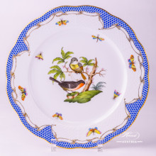 "Dinner Plate 524-0-00 RO-ETB Rothschild Bird Blue Fish scale decor. Herend fine china. Hand painted tableware. Diam 25.5 cm(10""D)"