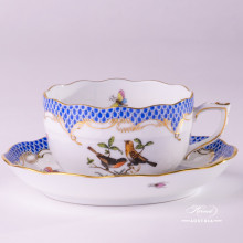 Tea Cup with Saucer724-0-00 RO-ETB Rothschild Bird Blue Fish Scale decor. Herend porcelain hand painted