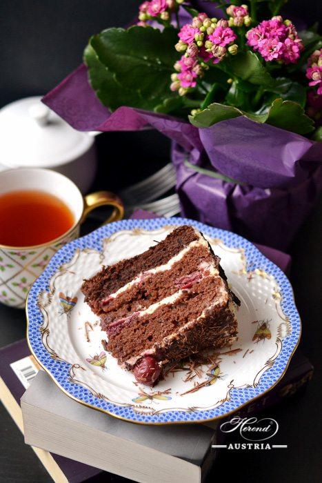 Dessert Plate 517-0-00 RO-ETB Rothschild Bird Blue Fish scale decor. Herend porcelain. Hand painted tableware