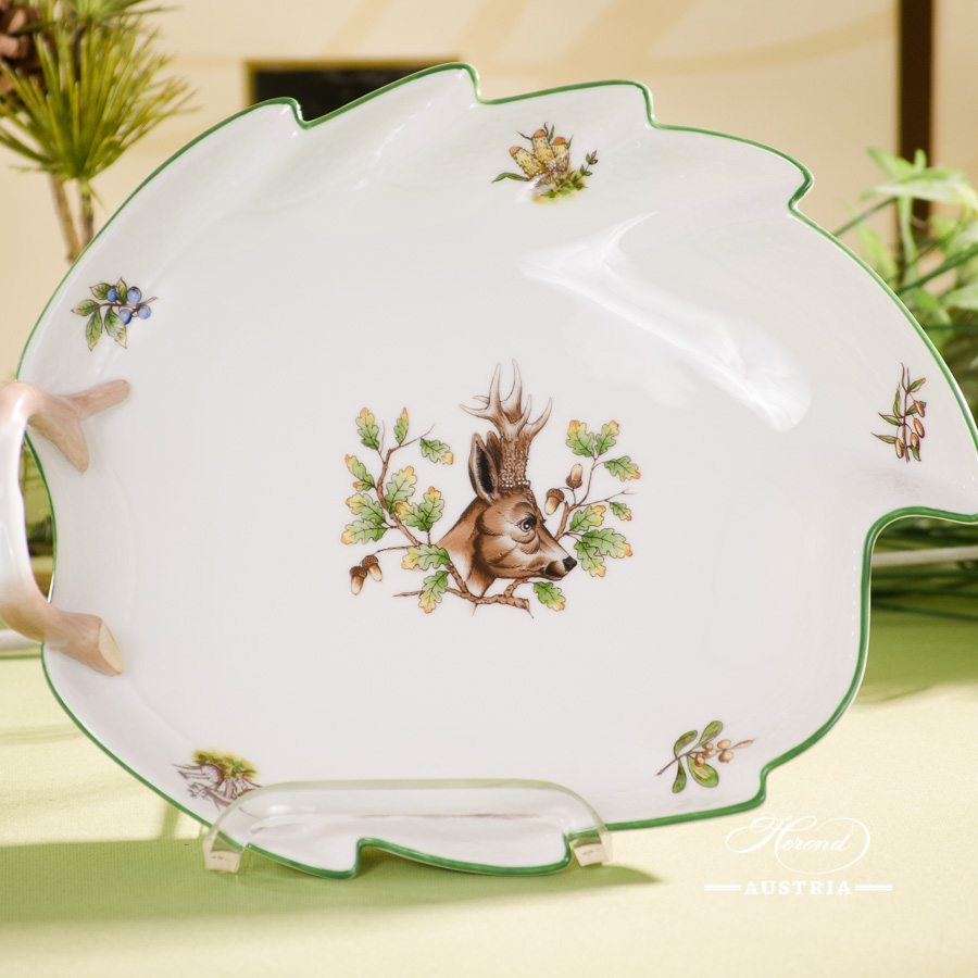 Leaf Dish w. Handle 201-0-00 CHTM Hunter Trophies  pattern. Roe Buck motif. Green rim. Herend fine china. Hand painted tableware