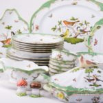 Dinner Set for 6 Persons - Herend Rothschild Bird Green Fish scale RO-ETV decor. Herend porcelain. Hand painted dinnerware
