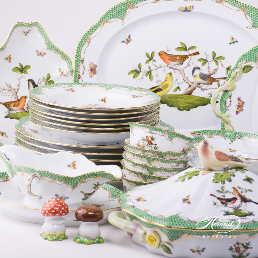 Rothschild Bird Green Fish Scale - Dinner Set