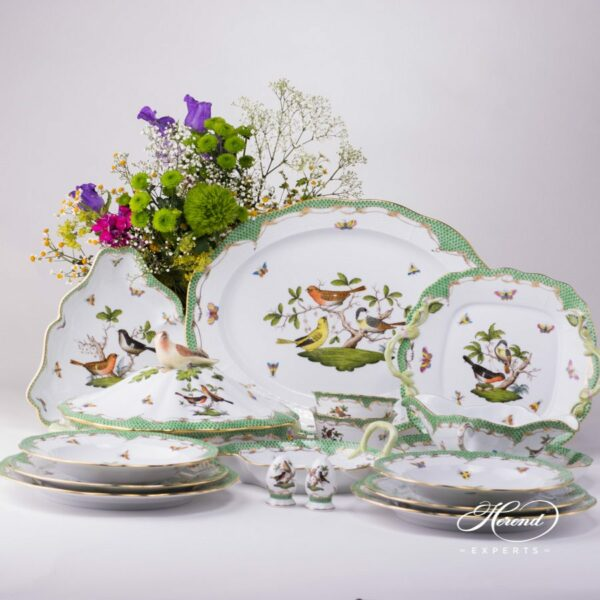 Dinner Set for 2 Persons - Herend Rothschild Bird Green Fish scale RO-ETV decor. Herend porcelain. Hand painted dinnerware