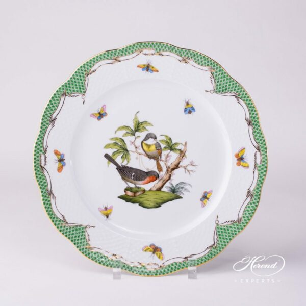 Dinner Plate 524-0-00 RO-ETV Rothschild Bird Green Fish scale decor. Herend porcelain. Hand painted dinnerware